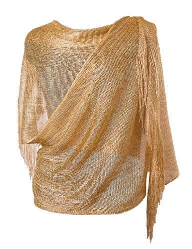 Womens Wedding Evening Wrap Shawl Glitter Metallic Prom Party Scarf with Fringe, 3 Metallic Gold