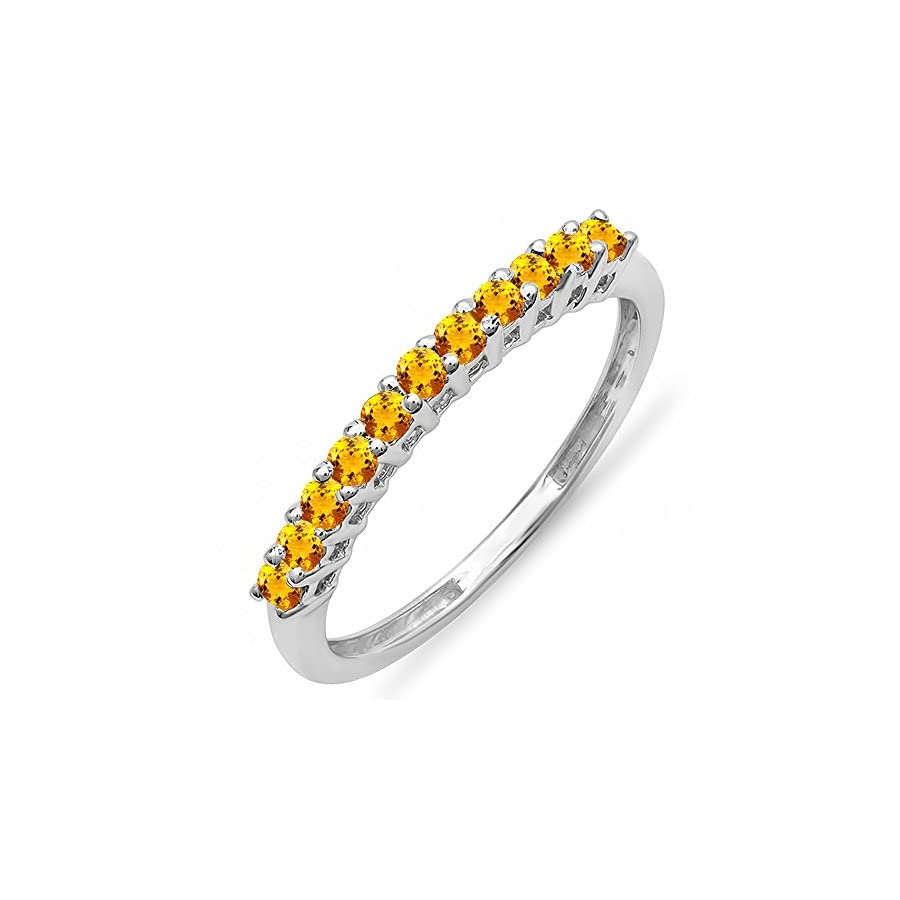 Dazzlingrock Collection 0.25 Carat (ctw) 10K Gold Round Citrine Anniversary Stackable Wedding Band 1/4 CT