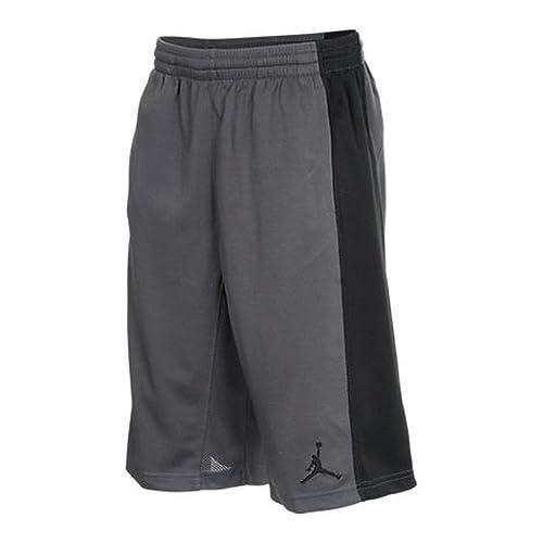 66f77f895c4f66 Nike Dri Fit Air Jordan Big Boys Jumpman Basketball Shorts Dark Grey Black  (Small)