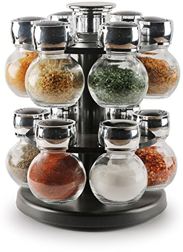 Circleware 66504 Contempo 12 Glass Jar Revolving Countertop Carousel Spice Rack Salt and Pepper Shaker Holder Organizer, Home Kitchen Preserving Cabinet Glassware Containers, Best Gifts, 3.5 oz, Clear ()
