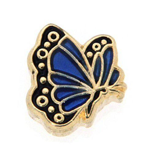 September Butterfly Enamel Birthmonth Charm for Floating Lockets, Goldtone