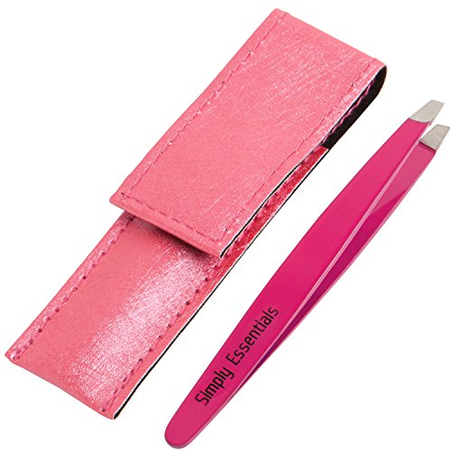 Tweezers Slant Pink Includes CASE and Ebook - Precision Eyebrows Tweezer - Stainless Steel - Great for Eyebrow Pluckers, Threading, Shaping and Gifts!