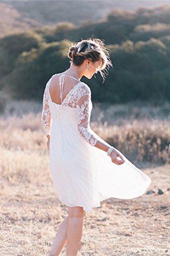 Beyonddress Ärmeln Spitze Hochzeitskleider Ausschnitt V mit Brautkleider Damen Brautjungferkleider Chiffon Brautmode Elfenbein Kurz fqBwpfr