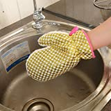 Tpingfe Non-Stick Oil Dish Washing Gloves, Kitchen Cleaning Brush Bowl Waterproof Gloves, 1pc (Gold)