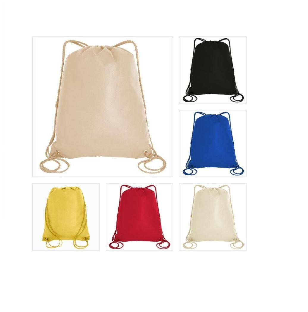 100 PACK Assorted Color-Promotional Non-Woven Drawstring Backpack, Sports Drawstring Bags