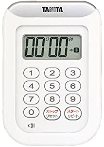 TANITA Waterproof Kitchen Timer 100 Minutes White TD-378-WH