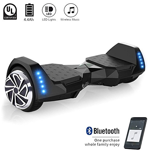 CXM2018 Self Balancing Hoverboard UL 2272 Certified 6.5″ Two Wheel Smart Electric Scooter with Bluetooth Speaker and LED Side Lights for Kids and Adults (black)