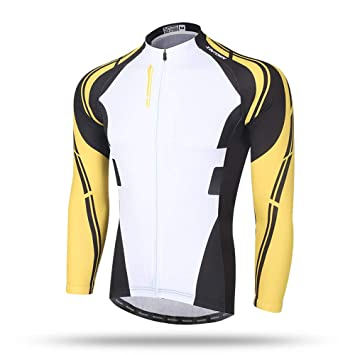 7be2329ff Pinjeer Yellow Long Sleeve Breathable Men s Cycling Jersey Clothing Spring  Autumn Quick Dry Team Bike Riding