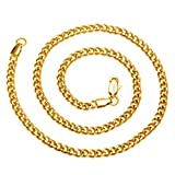 AmyRT Jewelry 4.5mm Titanium Steel Mens Beveled Curb Link Gold Chain Necklace 22""