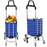 Folding Shopping Cart Grocery Utility Lightweight Stair Climbing Cart with Rolling Swivel wheels and Removable Waterproof Canvas Bag [US Stock] (Utility Carts w/Bag - G2)