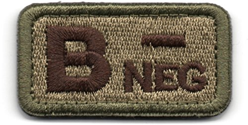 Tactical Blood Type B- Negative NEG Hook and Loop Patch Embroidered Morale Military Badge for Outdoors (Coyote Brown B-)