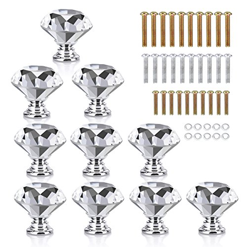 HOMEIDEAS 10PCS 30MM Crystal Glass Cabinet Knobs Diamond Shape Dresser Cupboard Wardrobe Pulls Handles,3 Size Screws 10 Drawer Chest Dresser