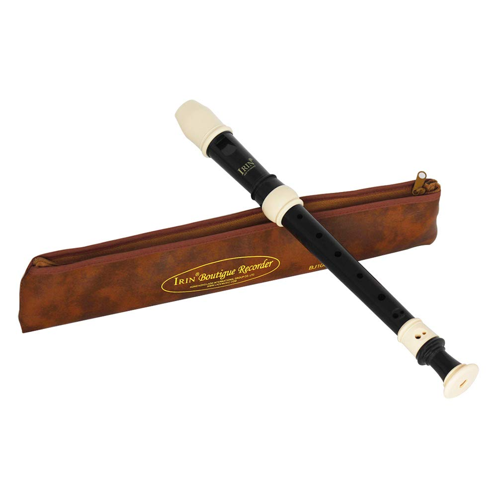 Docooler IRIN ABS Alto Recorder 8 Hole Baroque Style Recorders Instrument Detachable with Finger Rest and Carrying Bag Classroom Wind Musical Instruments Black