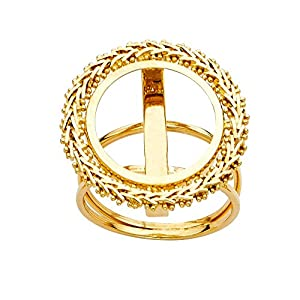 14ct Yellow Gold 2.5 Pesos Bola Ring Size N 1/2 Jewelry Gifts for Women