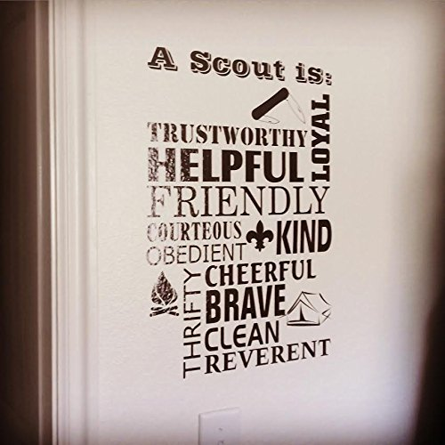 Boy Scout Law LARGE Trustworthy Loyal Helpful Friendly Courteous Kind Obedient Cheerful Thrifty Brave Clean Reverent, BSA vinyl wall decal ()