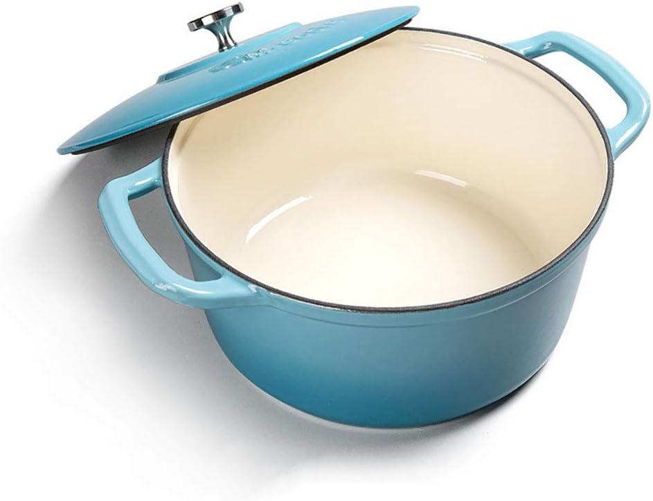 Cocina de hierro fundido, olla para sopa de esmalte no pegajosa de 6 litros, fácil de limpiar, cocina de inducción, estufa de gas, universal, 28 cm,Blue: Amazon.es: Hogar