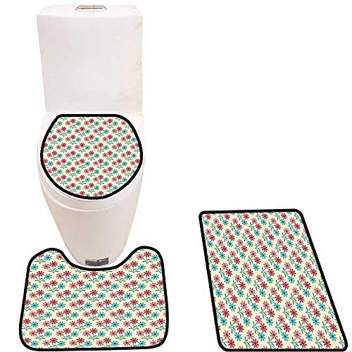 Cushion Non-Slip Toilet Mat in Full Blossom Vivacious Compositi Plants Cottage Multicolor Cushion Non-Slip ()