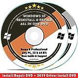 Software : Windows 10 Repair & Reinstall Disc Set: Recovery Reboot Restore Fix Factory Reset - Home or Professional 32 & 64 Bit PC Computer + Drivers Install 2019 (2 DVD Set)