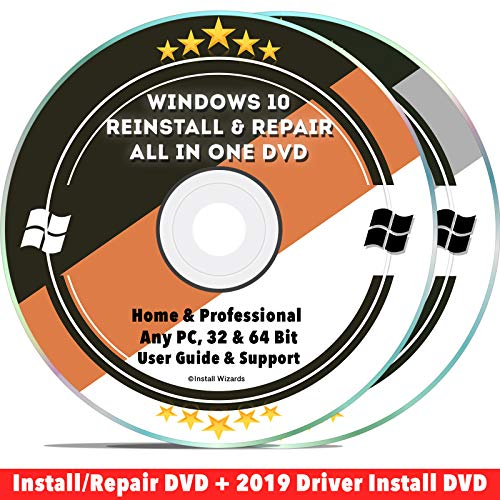 Windows 10 Compatible Repair & Reinstall Disc Set: Recovery Reboot Restore Fix Factory Reset - Home or Professional 32 & 64 Bit PC Computer + Drivers Install 2019 (2 DVD Set) (Asus Laptop Recovery Disk 64 Bit)