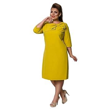 Vestido de Mujer Vestidos de Mujer New Spring Summer Moda Color Puro Mujer Gorda Vestido de