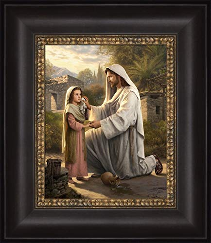 Simon Dewey I Will Dry Your Tears 12x14 Framed Strata Design- Jesus with Children]()