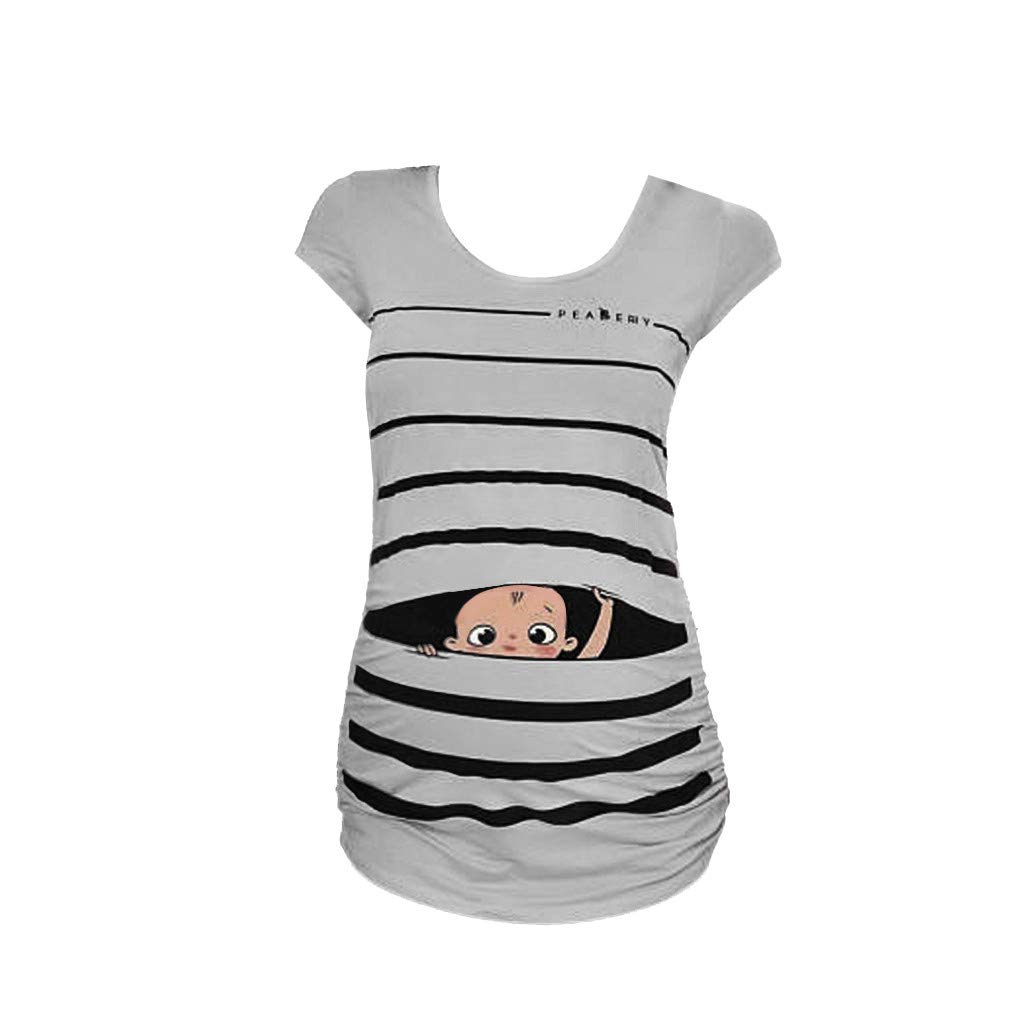 Luonita Womans Maternity Baby Peeking T-Shirts Funny Pregnancy Tunic Tops Striped Blouses