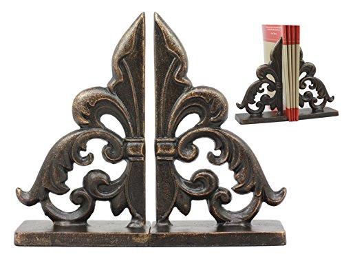 - Ebros Rustic Cast Iron Ornate Fleur De Lis Bookends Set Statue 8.5