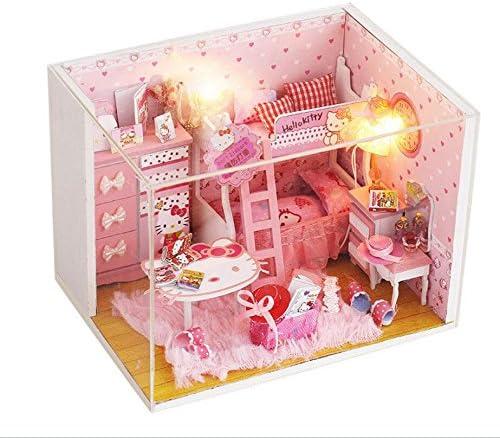 NWFashion Cartoon Theme Miniature Creative Wooden Kits Furniture Dollhouse(with Duty Proof Cover) (Kitty) / NWFashion Cartoon Theme Miniature Creative Wooden Kits Furniture Dollhouse(with Duty Proof Cover) (Kitty)