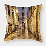 iPrint Satin Throw Pillow Cushion Cover,Gothic,Dark Stone Ancient Street Spain European Horror Dark Evil Renaissance Medieval Art Photo,Beige,Decorative Square Accent Pillow Case
