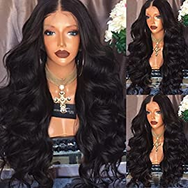PlatinumHair Lace Front Wigs 24″ Long Wavy Synthetic Wigs for Black Women Heat Resistant Fiber Hair 180% Density Black Color Body Wave Wigs
