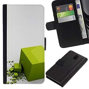 Stuss Case / Funda Carcasa PU de Cuero - Polygon Cube Reflective Gray - Samsung Galaxy Note 3 III N9000 N9002 N9005