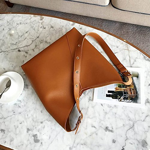 Casual Bag Leather Handbag Clutch Brown Bags Composite Set 2 PU Pcs Women Lady Dxlta for qxwa0YIp