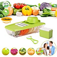 BleSavory Mandoline Slicer Vegetable Grater Cutter Food Container with 5 Thickness Blades