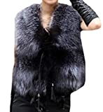 Generic Women Fashion Faux Fox Feathers Plus Size Warm Vest Coat