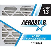 Aerostar 16x20x4 (Two Pack) MERV 13, Pleated Air Filter, 16 x 20 x 4, Box of 2, Made in the USA