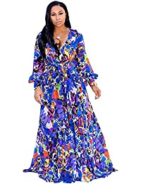 569a2b9116e Womens Stylish Chiffon V-Neck Printed Floral Maxi Dress with Waisted Belt  Plus Size (