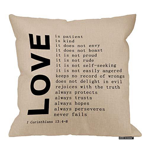 HGOD DESIGNS Love Quote Pillowcase, Square Pillow Cover Cushion Case 1 Corinthians 13:4-8 Pillowcase Hidden Zipper Closure 18X18inch (Quotes Pillowcase)