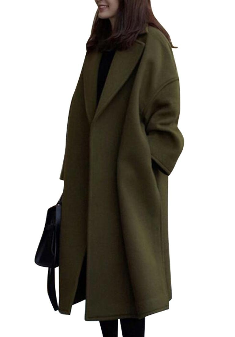 Oberora Womens Warm Korean Style Trench Coat Lapel Long Outdoor Wool Pea Coat Army green S
