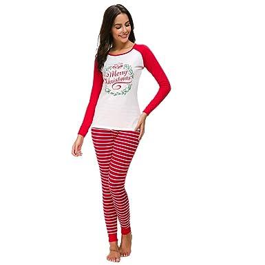 prix bas bons plans sur la mode États Unis UFACE Pyjama Ensemble Noel Famille Femme Noël Pyjamas Deux Pièces à Manches  Longues Tops Pantalon Sleepwear Vêtement de Nuit Romper Sleepsuit
