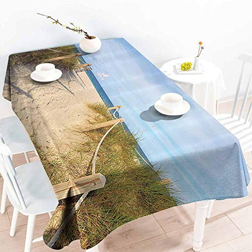 familytaste Wedding Banquet Table Decoration,Seaside Decor Collection,Golden Sandy Beach in South Miami with Fences American Style Holiday Login Relax Image,Cream Blue 50