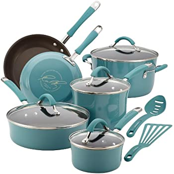 kitchen pots and pans sale kitchenaid set play ray hard porcelain enamel nonstick cookware piece agave blue