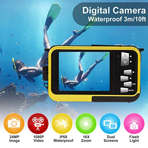 undersplash Underwater Camera Waterproof Camera with 24MP Waterproof Digital Camera Camcorder Full HD 1080P Underwater…