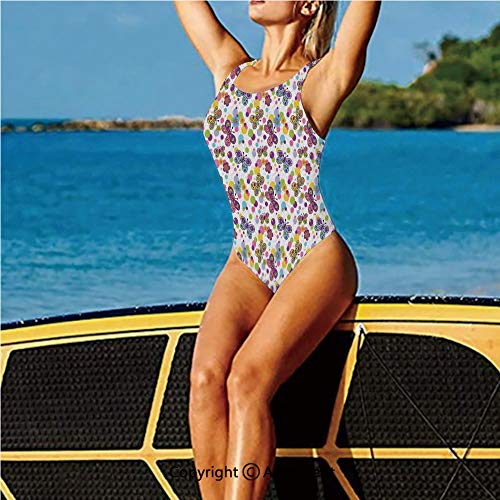 - Fashion Swimming Suit,Flora Patterned and Polka Dotted Vinta,High Cut Swim-Suit