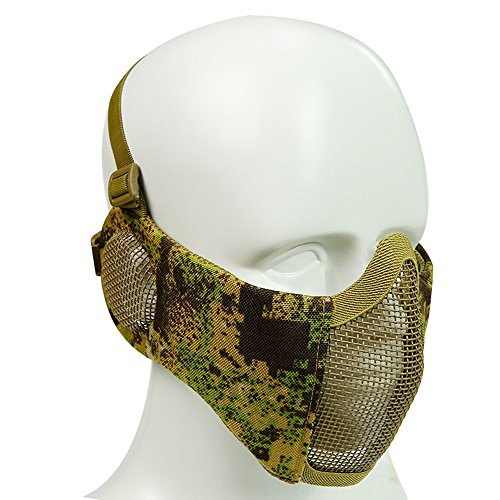 Airsoft Half Face Mask Camouflage Steel Mesh with Ear Protection Military Tactical Lower Face Protective Mask for Wargame Halloween 9 Camo ()