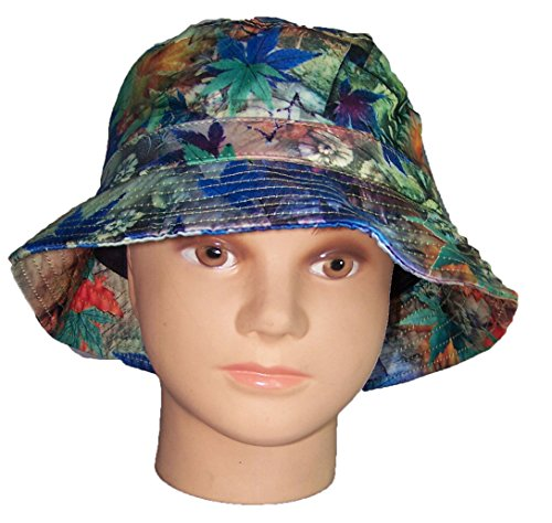 Marijuana Weed Cannabis Printed Bucket Hats Floppy Hats Summer Hats Blue (BUCKHAT1Z)