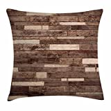 Ambesonne Wooden Throw Pillow Cushion Cover, Wall Floor Textured Planks Panels Picture Art Print Grain Cottage Lodge Hardwood Pattern, Decorative Square Accent Pillow Case, 16 X 16 Inches, Brown