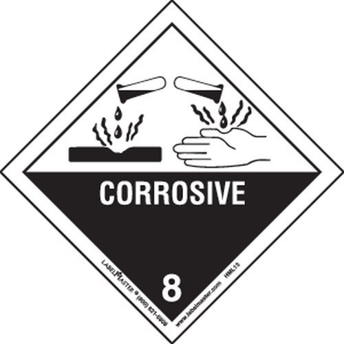 Labelmaster HML13 Corrosive Worded Label, Paper, Hazmat, 4'' x 4'' (Pack of 500) by Labelmaster®