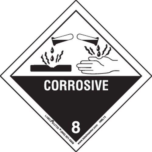 Labelmaster HML13 Corrosive Worded Label, Paper, Hazmat, 4