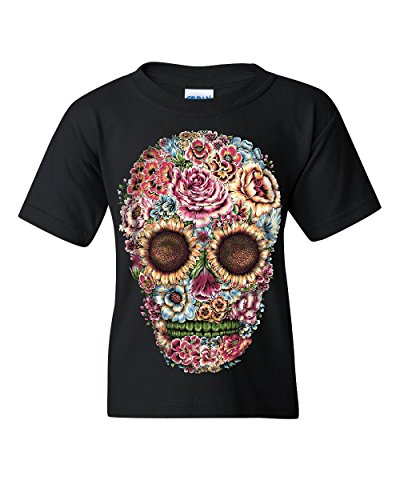 Victorian Flower Sugar Skull Youth T-Shirt Dia de Los Muertos Calavera Kids Tee Black M (Sugar Boys T-shirt)