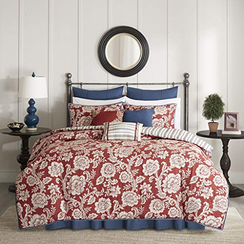 Madison Park Lucy Duvet Cover Cal King Size - Red, Navy, Reversible Floral, Stripes Duvet Cover Set - 9 Piece - Cotton Twill, Cotton Poly Blend Reverse Light Weight Bed ()